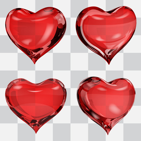 fondness: Set of four transparent hearts in red colors