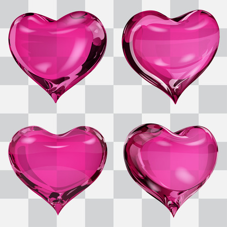fondness: Set of four transparent hearts in pink colors