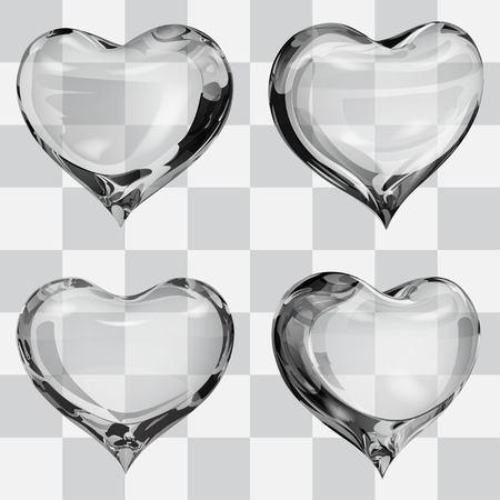 fondness: Set of four transparent hearts in gray colors