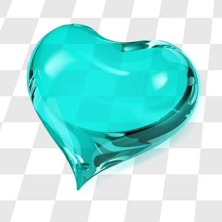 crystalline: Big transparent heart in turquoise colors