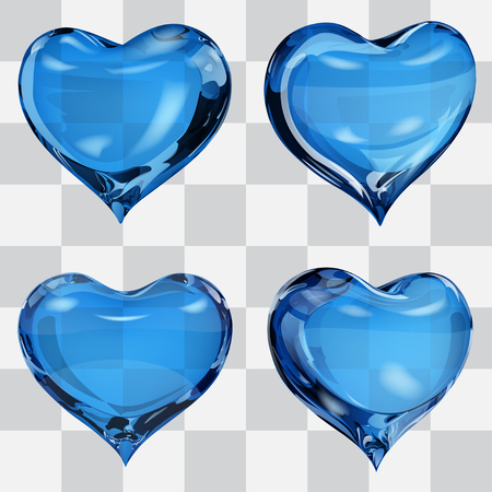 fondness: Set of four transparent hearts in blue colors