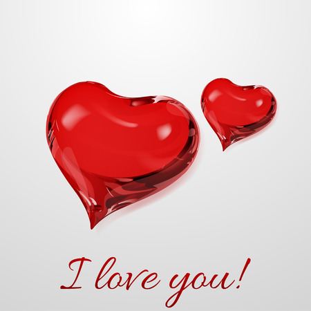 crystalline: Two red hearts on white background with inscription I love you