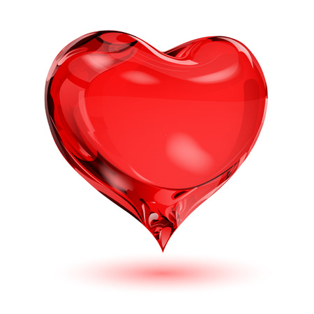 crystalline: Big red heart on white background with shadow