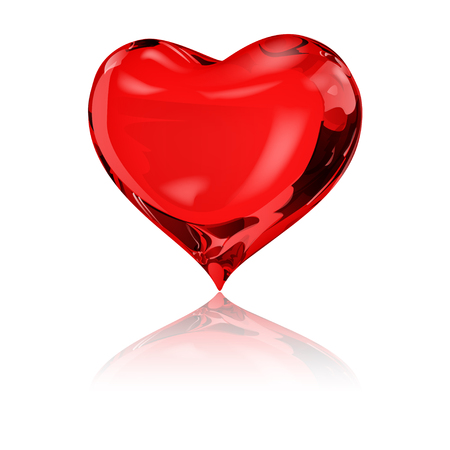 crystalline: Big red heart on white background with reflection Illustration
