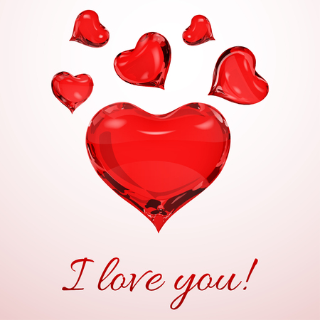 crystalline: Big red heart and small red hearts on pink background with inscription I love you Illustration