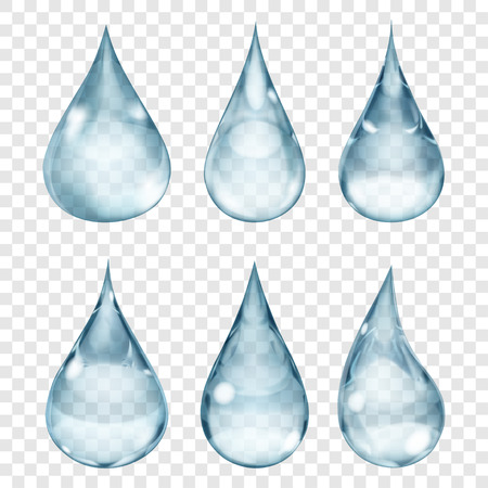 Set of transparent drops in gray colors. Transparency only in vector format. Can be used with any background Vettoriali