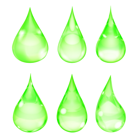 opaque: Set of opaque drops in green colors on white background
