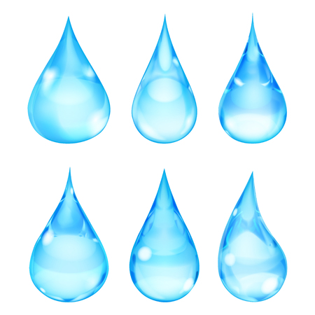 opaque: Set of opaque drops in light blue colors on white background