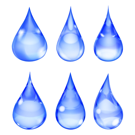 opaque: Set of opaque drops in blue colors on white background