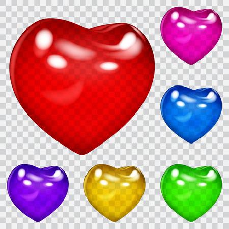 corazones azules: Conjunto de bellos corazones brillantes transparentes en varios colores. La transparencia sólo en formato vectorial. Puede ser utilizado con cualquier fondo Vectores