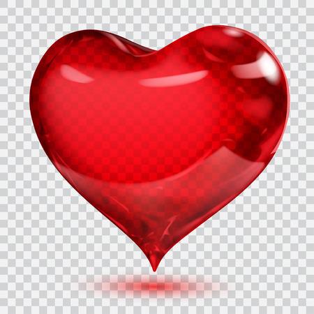 Gran corazón rojo brillante transparente con sombra. Transparencia solo en formato vectorial. Se puede usar con cualquier fondo