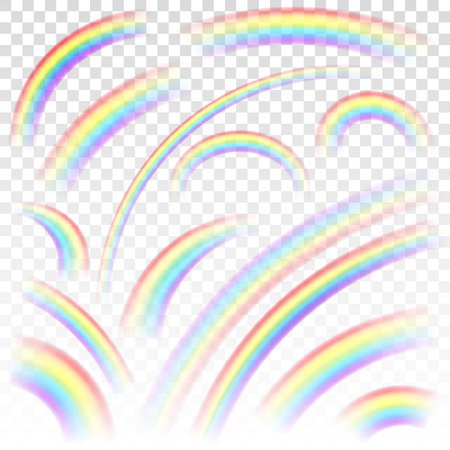 Set of transparent rainbows in various sizes and shapes.  Transparency only in vector format