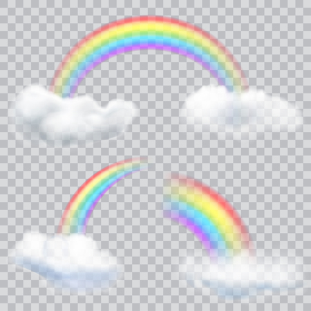 transparency: Set of transparent rainbows with clouds. Transparency only in vector format Illustration