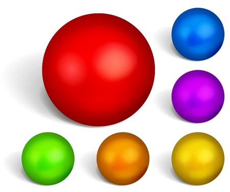 red sphere: Set of multicolored spheres with shadows on white background