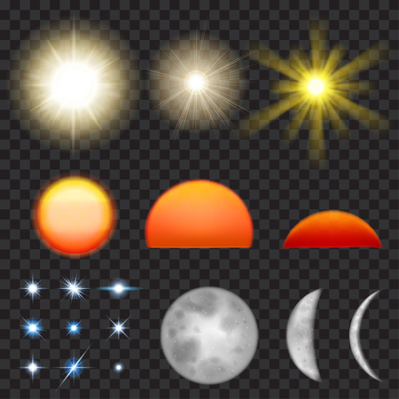 sunsets: Set of sun, sunsets, moon and stars. Transparency and use with any background only in vector format