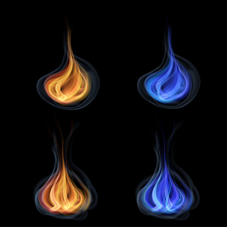 Orange and blue tongues of flame