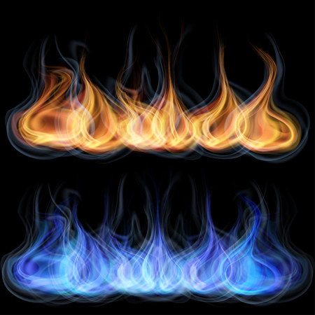 gas fireplace: Orange and blue tongues of flame