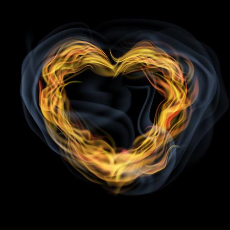 consist: Heart consist of orange flame tongues