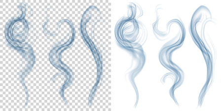 blue smoke: Set of translucent light blue smoke on transparent and white background. Transparency only in vector format Illustration