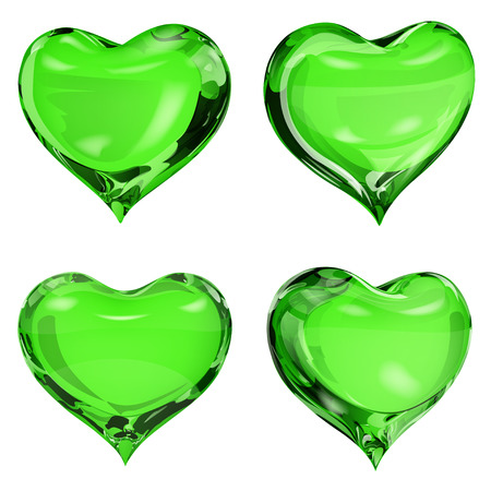 opaque: Set of four opaque hearts in green colors Illustration