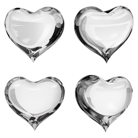 fondness: Set of four opaque hearts in gray colors