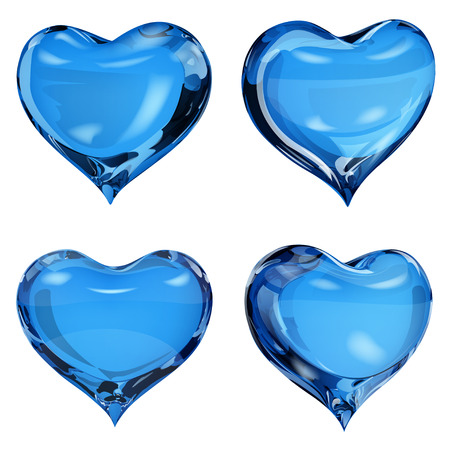opaque: Set of four opaque hearts in blue colors