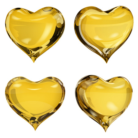 opaque: Set of four opaque hearts in yellow colors