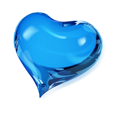 opaque: Big opaque heart in blue colors Illustration