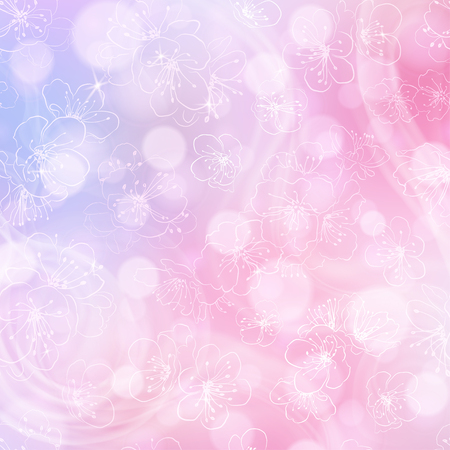 Flower background with cherry blossoms, in pink colors