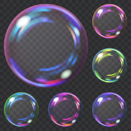 Set of multicolored transparent soap bubbles with glares. Transparency only in vector format. Can be used with any background Illustration