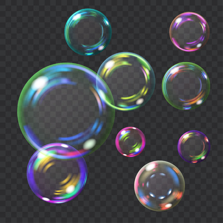 Multicolored transparent soap bubbles with glares. Transparency only in vector format. Can be used with any background