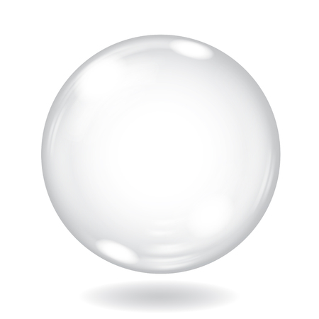 Big white opaque sphere with glares and shadow on white background Ilustração