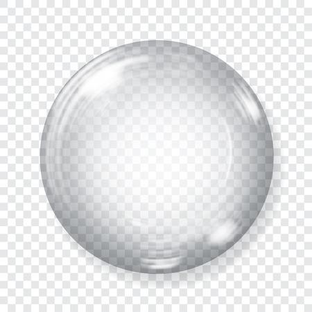 Grote transparante glazen bol met blikken en schaduw. Transparantie alleen in vector-bestand