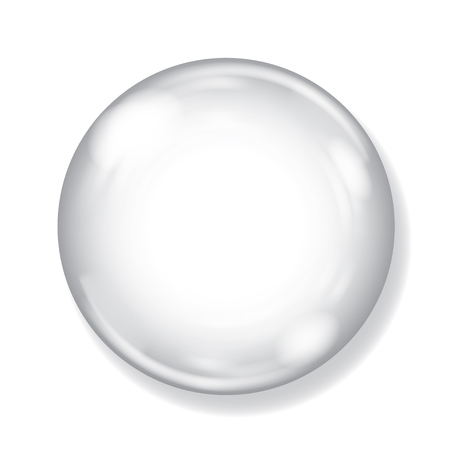 Big white opaque sphere with glares and shadow on white background Иллюстрация