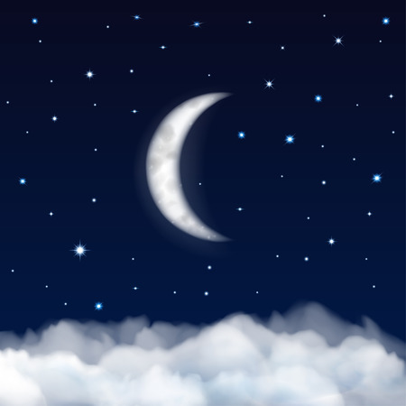 Background of night sky with moon, stars and clouds