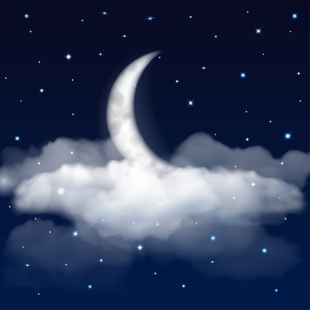 cloudiness: Background of night sky with moon, stars and clouds