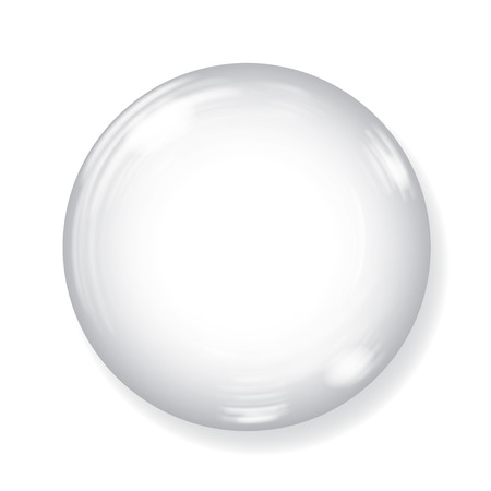 Big white opaque sphere with glares and shadow on white background Vettoriali