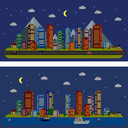 moon  metropolis: Night urban landscape with houses, roads, mountains, river, cars, ships. Flat design Illustration