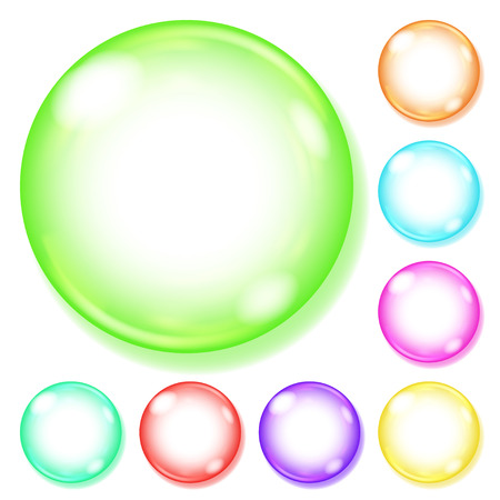 opaque: Set of opaque spheres of various colors with glares and shadows on white background