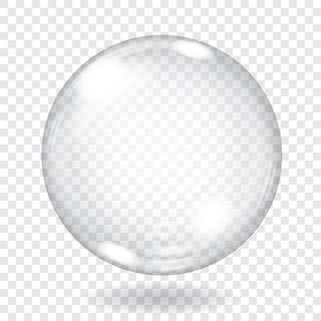 bulles de savon: Big sph�re de verre transparent avec �clats et l'ombre. Transparence seulement dans le fichier vectoriel