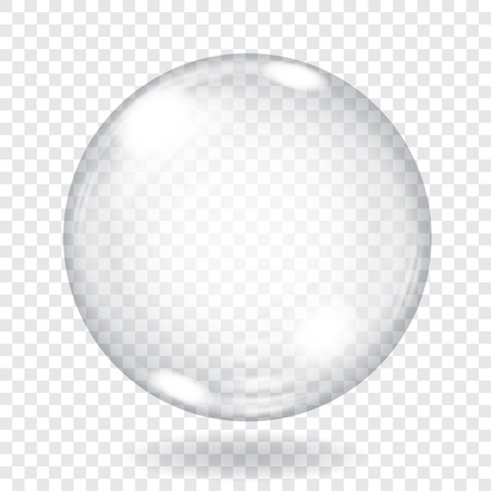 burbujas jabon: Gran esfera de cristal transparente con brillos y sombras. Sólo transparencia en el archivo vectorial