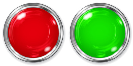green button: Realistic big red and green opaque button with metallic border on white background