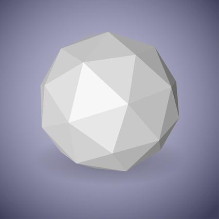 Résumé faible sphère polygonale blanche en faces triangulaires avec l'ombre