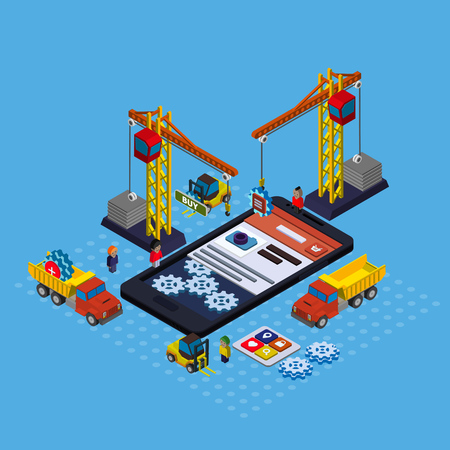 Mobile app development flat isometric vector conceptual illustration Illustration