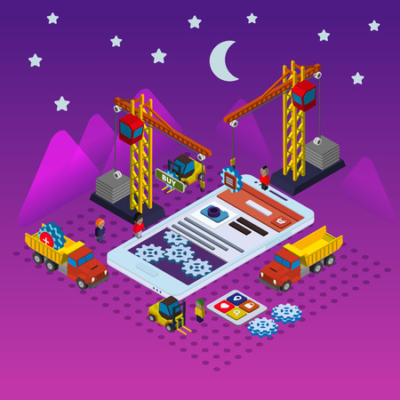 people  male: Mobile app development flat isometric vector conceptual illustration Illustration