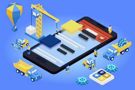 Flat 3d isometric mobile design web infographic concept vector. Crane people creating interface on phone tablet. Stock Illustratie