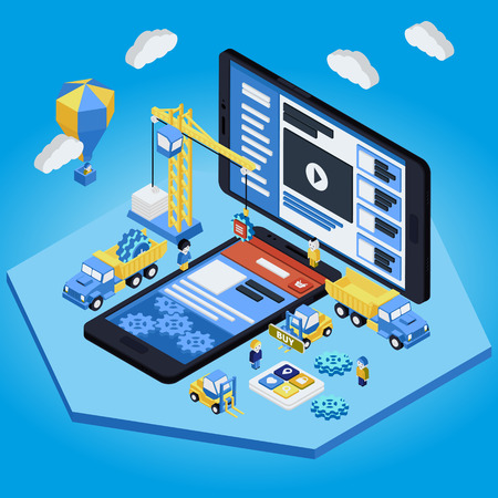 application software: Flat 3d isometric mobile design web infographic concept vector. Crane people creating interface on phone tablet. Illustration