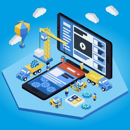 Plat 3d isométrique Design Mobile Web notion infographie vecteur. les gens grue créant interface sur la tablette de téléphone. Vecteurs