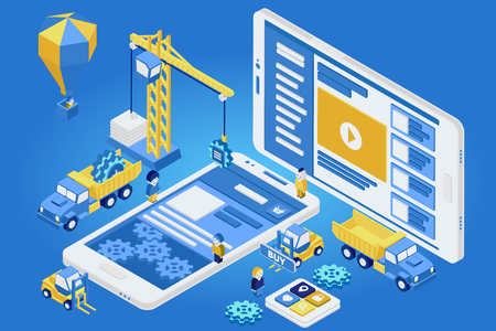 installing: Flat 3d isometric mobile design web infographic concept vector. Crane people creating interface on phone tablet. Illustration