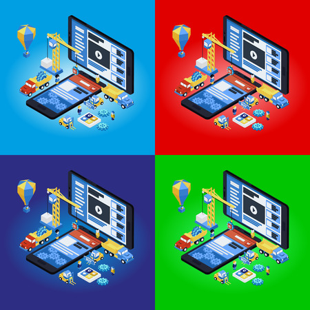 experienced: Mobile App Development, Experienced Team. Flat 3d isometric. Vector illustration